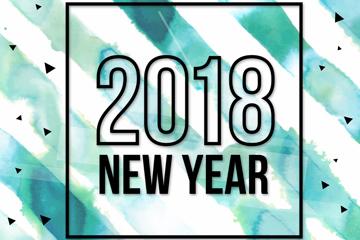 水彩绘2018蓝色条纹艺术字矢量图