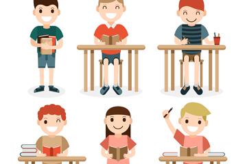 6款可爱学生设计矢量素材