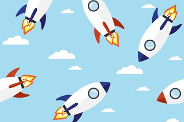 创意白色火箭无缝背景矢量图