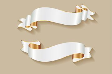 5款白色金边丝带条幅矢量优发娱乐