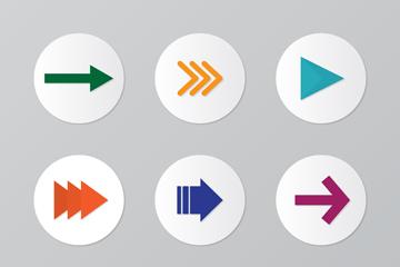 9款彩色圆形箭头图标矢量素材