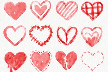 16款水彩绘爱心设计矢量素材