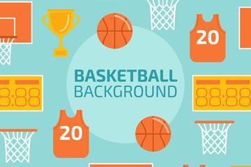 扁平化篮球元素无缝背景矢量图