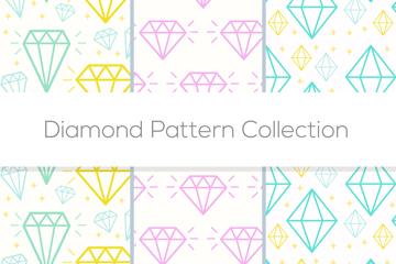 3款彩色钻石无缝背景矢量素材