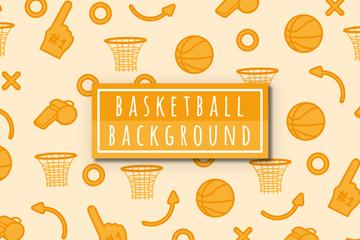 橙色篮球元素无缝背景矢量素材