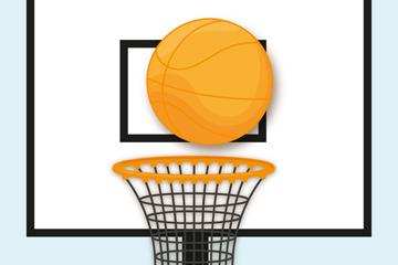 创意投进篮球架的篮球矢量图