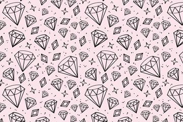 手绘闪亮钻石无缝背景矢量素材