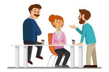 创意谈话的3个商务人物矢量图