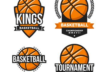 4款创意篮球标签矢量素材