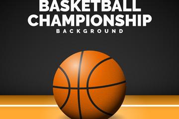 精美地板上的篮球设计矢量素材