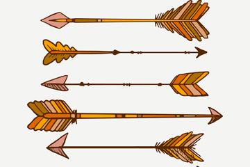 6款复古羽毛箭矢量素材
