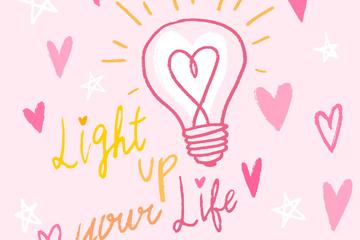 彩绘灯泡和爱心矢量素材