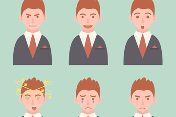 6款商务男子表情头像矢量素材