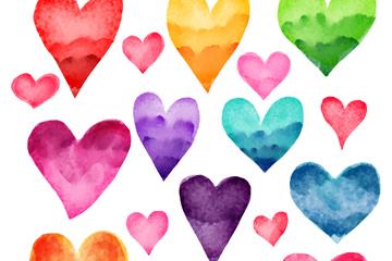 16款水彩绘爱心矢量素材