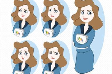 5款商务女子表情头像矢量素材