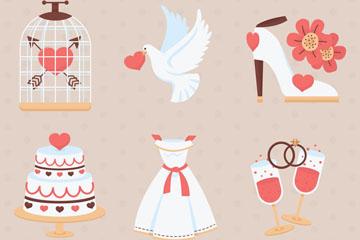6款创意婚礼元素矢量素材