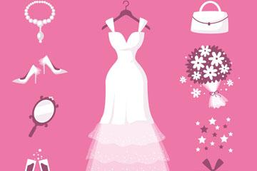 9款创意新娘送礼会元素矢量素材