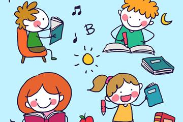 4款手绘学习的儿童矢量素材