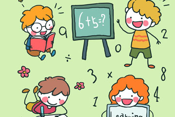 4款可爱学习儿童矢量素材