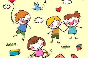4款手绘玩耍儿童矢量素材