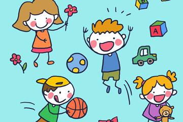 4款可爱手绘玩游戏的儿童矢量图