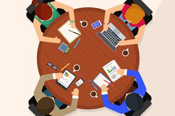 创意商务四人会议俯视图矢量图