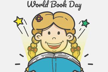 彩绘世界图书日女孩矢量素材