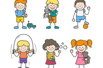 6款彩绘儿童设计矢量素材