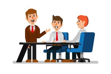 商务会议中的3个男子矢量图