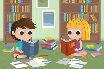 创意书房读书的2个孩子矢量素材