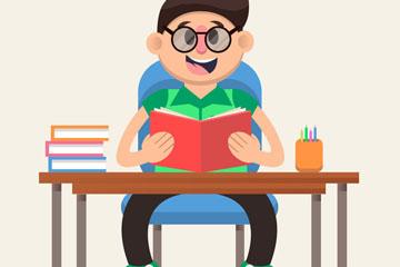 创意书桌前读书的男孩矢量素材