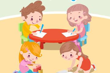4个可爱室内学习和玩耍的儿童矢量图