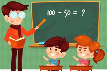 卡通课堂上的老师和儿童矢量图
