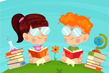 可爱草坪上读书的2个儿童矢量图