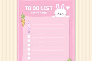 可爱兔子空白待办事项清单矢量图