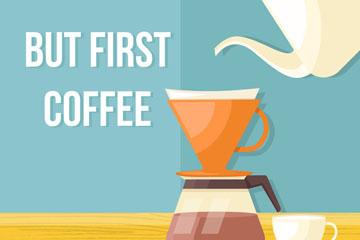 扁平化咖啡插画矢量素材