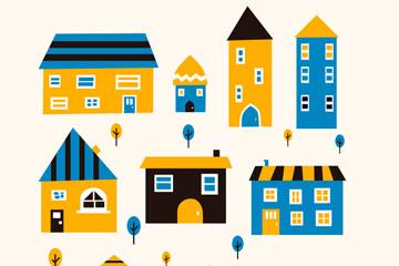9款创意彩色房屋设计矢量素材
