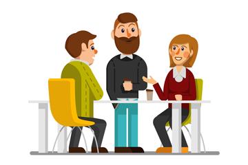 创意3个谈话的商务人物矢量图