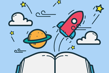 彩绘世界图书日书本和太空元素矢量图