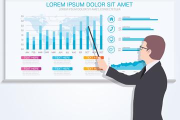 创意商务演示男子和PPT图表矢量素材