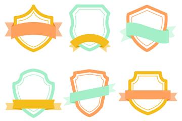 6款彩色丝带装饰空白盾牌矢量图