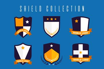 9款扁平化盾牌设计矢量图