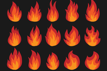 20款红色火焰设计矢量素材
