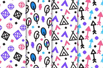 4款彩绘部落元素无缝背景矢量图