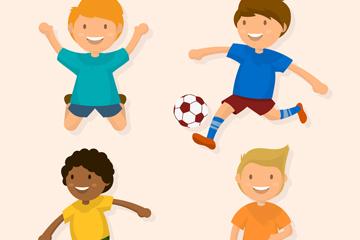 4款创意玩耍的男孩矢量素材