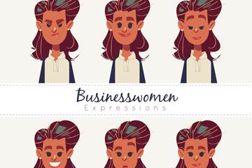 6款彩绘商务女郎头像矢量图