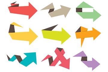 9款彩色扁平化折纸箭头矢量素材