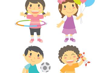 4款卡通玩耍男孩女孩矢量素材