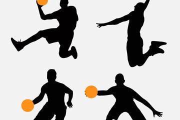 4款创意篮球人物剪影矢量素材