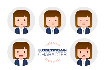 8款创意披肩发商务女子表情头像矢量图